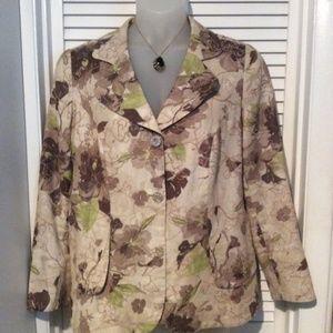 EUC Coldwater Creek Linen blazer. 18W tans & green